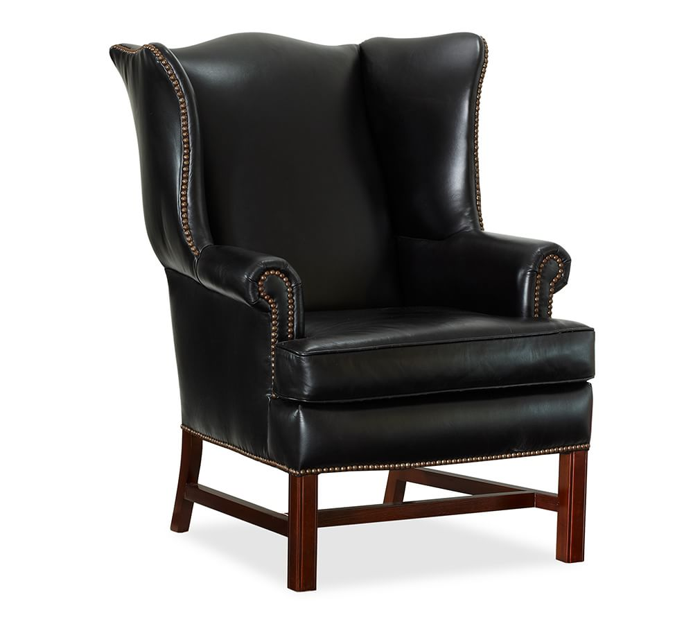 Magnificent Thatcher Leather Wingback Chair Black Pottery Barn Short Links Chair Design For Home Short Linksinfo