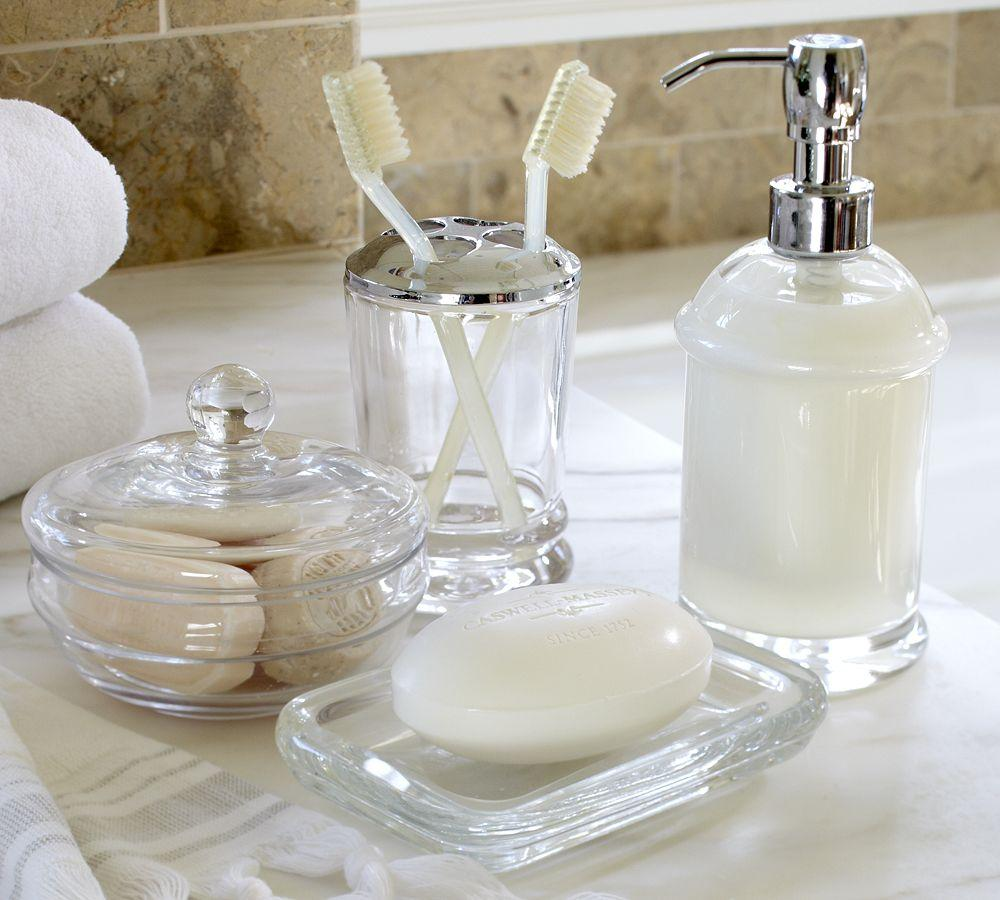 Pb classic glass bath accessories pottery barn au Bathroom decoration accessories
