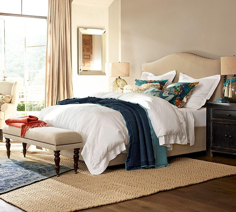 Raleigh Upholstered Camelback Bed With Nailhead