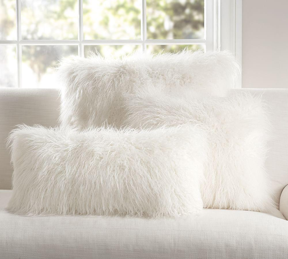 Mongolian Faux Fur Cushion Cover Ivory Pottery Barn Au