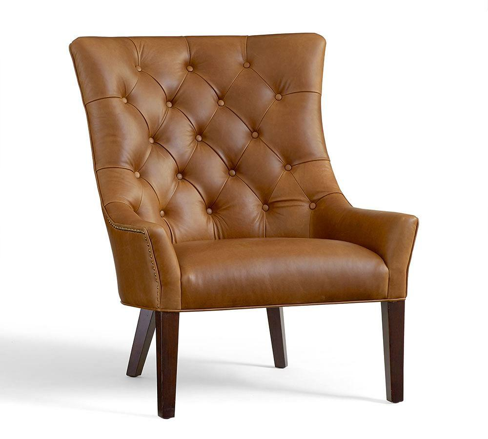 Pottery Barn Easy Chairs: Hayes Tufted Leather Chair