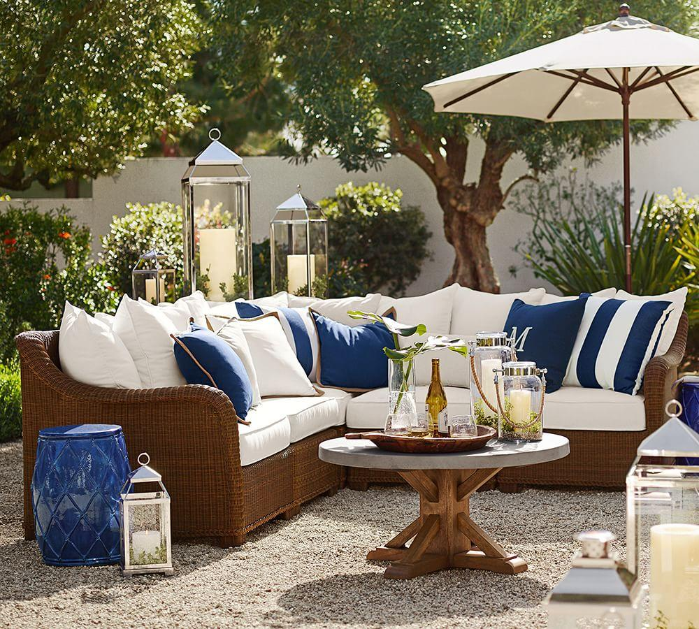 Pottery Barn Porch Ideas For Spring: Palmetto All-Weather Wicker Sectional
