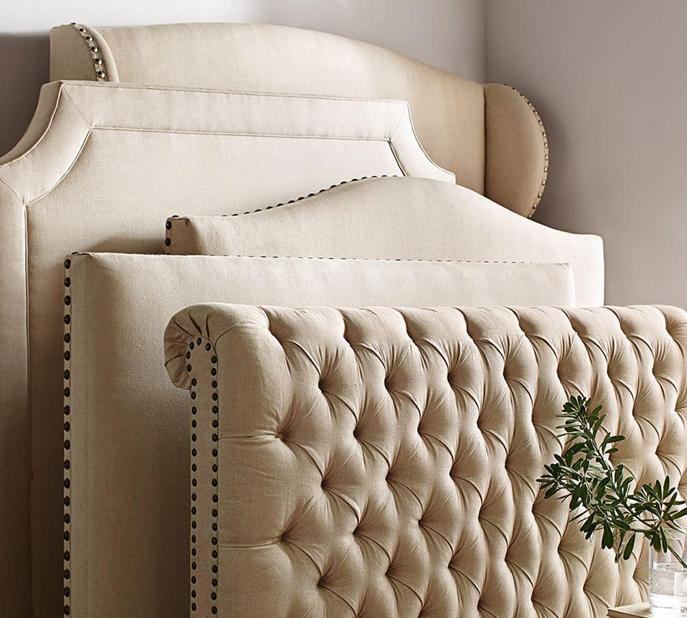 Chesterfield upholstered bed headboard pottery barn Decorative headboards for beds