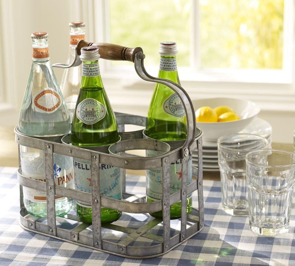 Galvanized Metal 6 Pack Bottle Caddy Pottery Barn Au