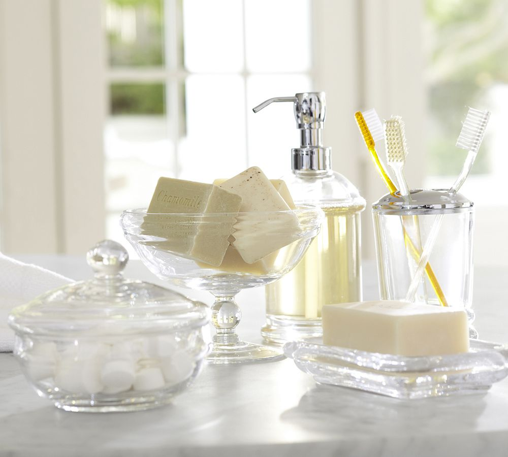 Pb classic glass bath accessories pottery barn au for Where to get bathroom accessories
