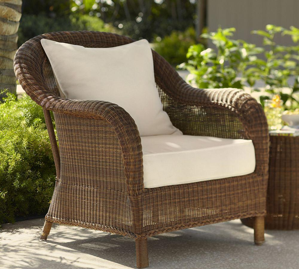 Palmetto All Weather Wicker Armchair Honey Pottery Barn Au