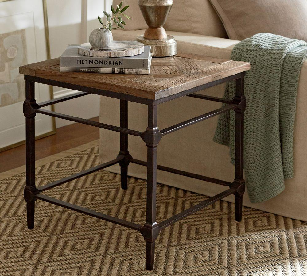Parquet side table pottery barn au for Black wood coffee table and end tables