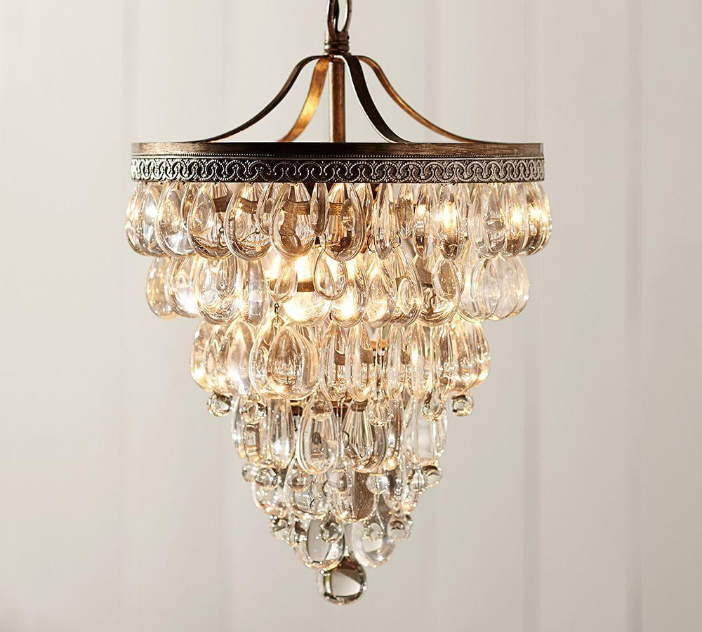 Small Chandeliers For Bedroom Clarissa Glass Drop Small Round Chandelier Pottery Barn Au