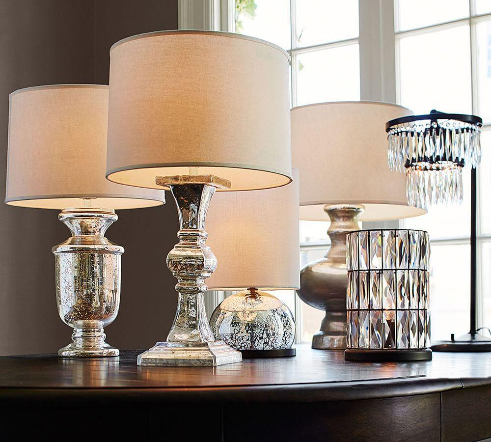 lighting table task lamps antique mercury glass table bedside. Black Bedroom Furniture Sets. Home Design Ideas