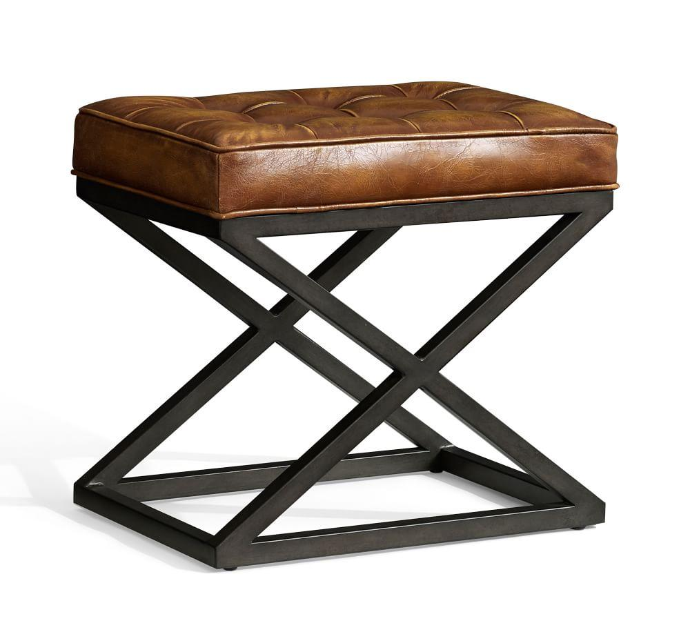 Kirkham Tufted Leather X Base Stool Pottery Barn Au