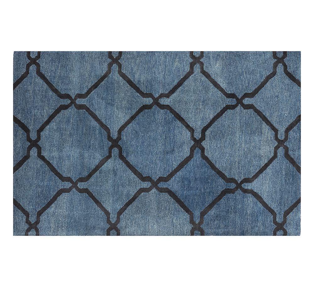 Tonal Tile Tufted Rug - Indigo