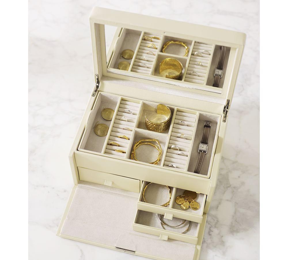 Decorative Boxes Pottery Barn : Mckenna leather large jewellery box pottery barn au