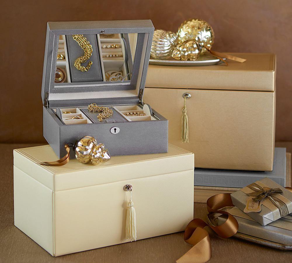 Mckenna Leather Medium Jewellery Box Pottery Barn Au