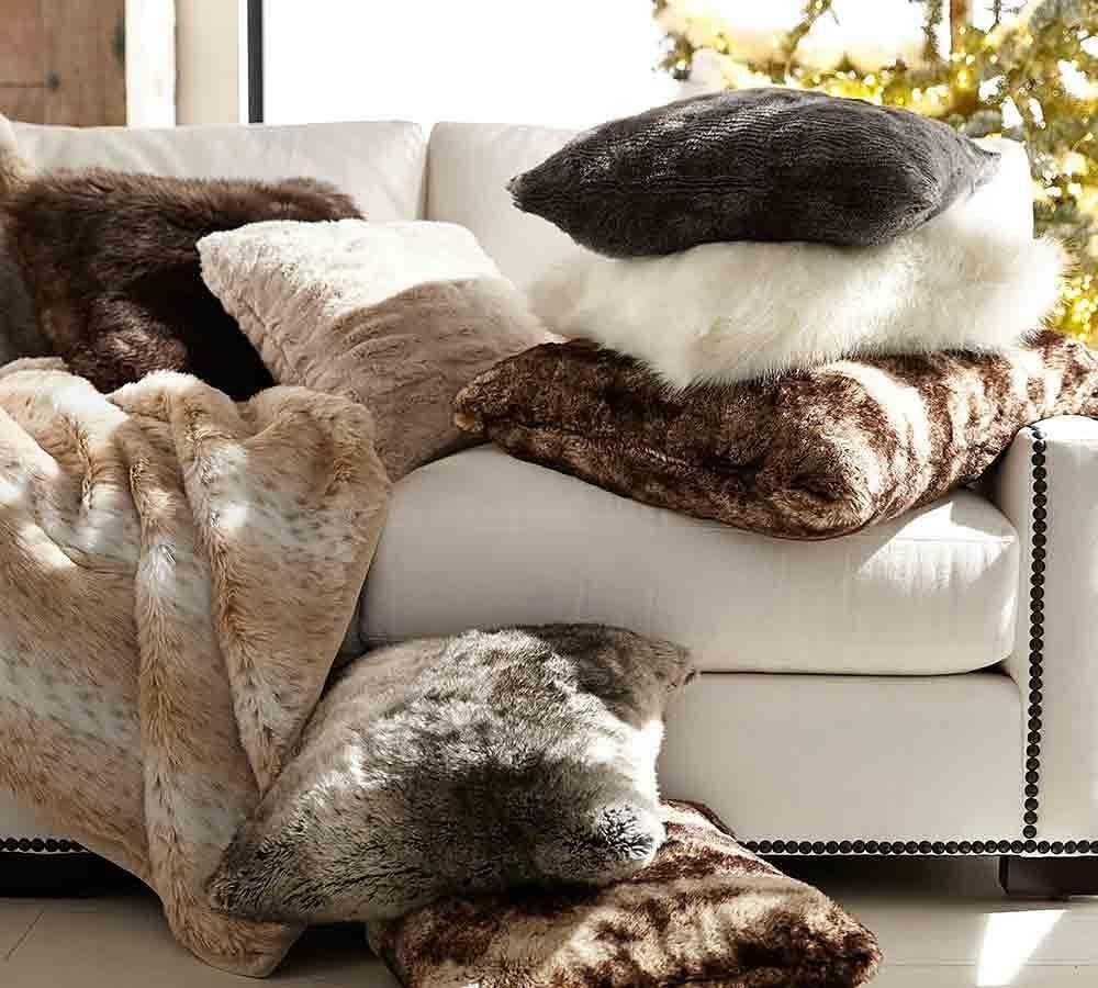 faux fur cushion cover caramel ombre pottery barn. Black Bedroom Furniture Sets. Home Design Ideas
