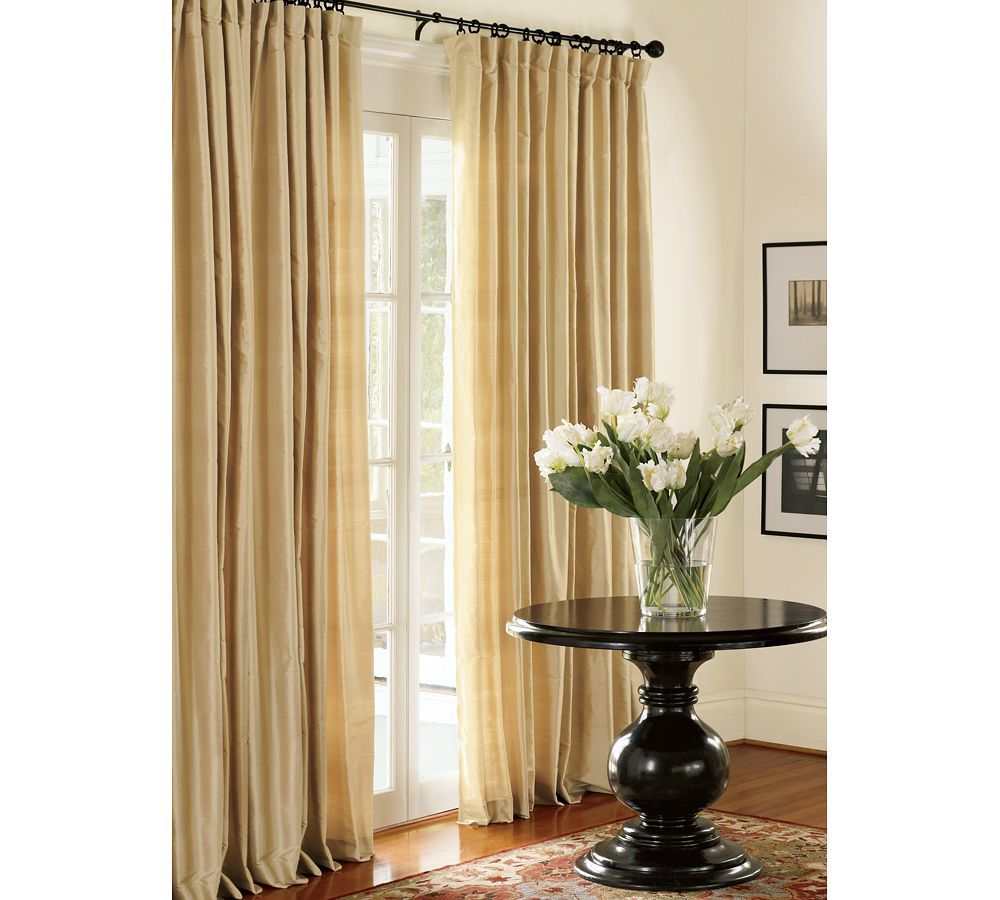Pottery barn silk curtains - Pb Standard Ball Finial Curtain Rod Antique Bronze Finish