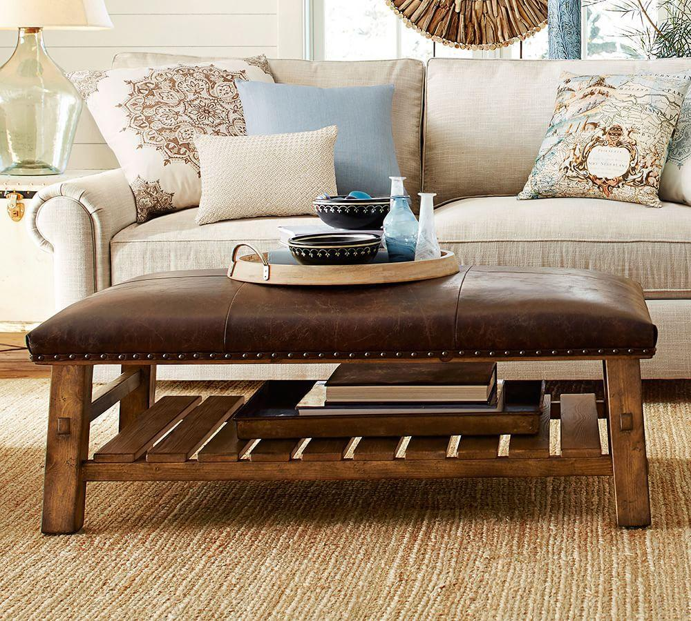 Ottoman Coffee Table With Sliding Wood Top: Caden Leather Rectangular Ottoman