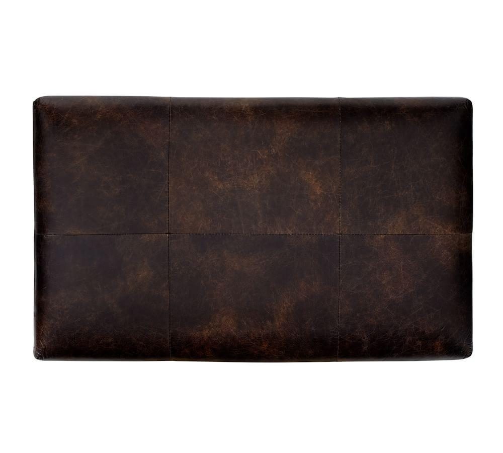 Caden Leather Rectangular Ottoman Pottery Barn Au