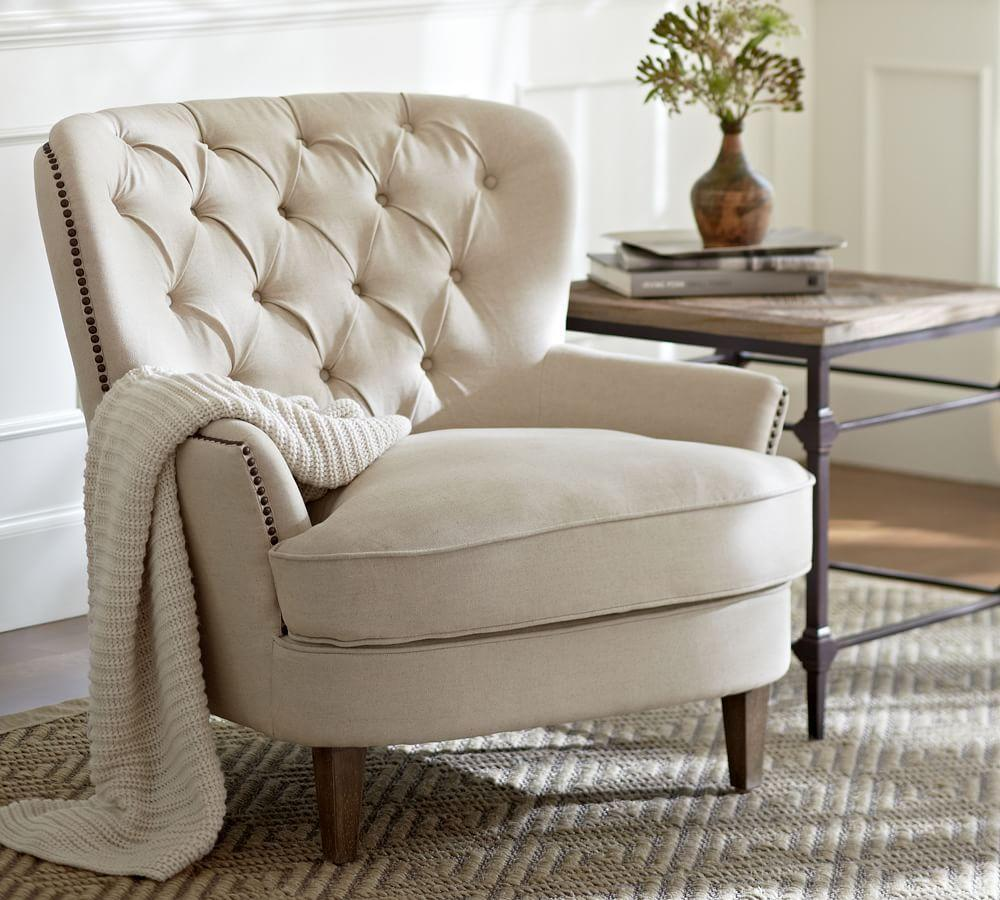 leather look armchair cardiff tufted upholstered armchair ivory pottery barn au 16656 | media