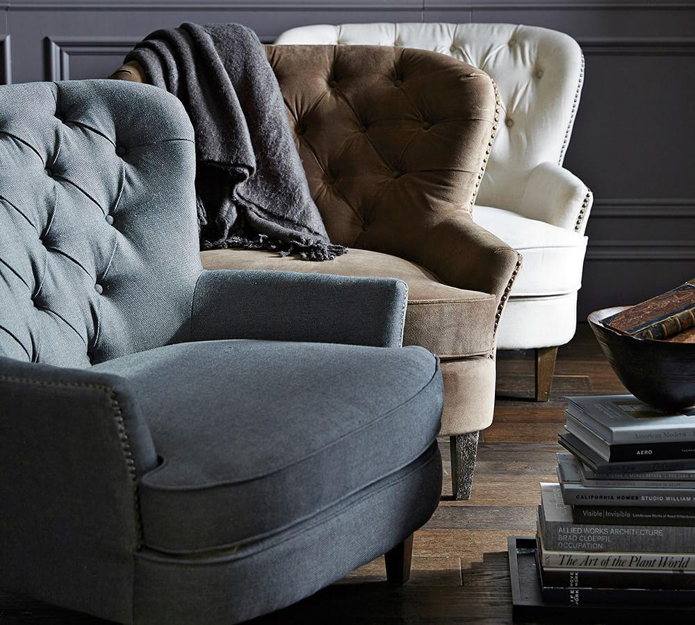 Cardiff Tufted Upholstered Armchair Pottery Barn Au