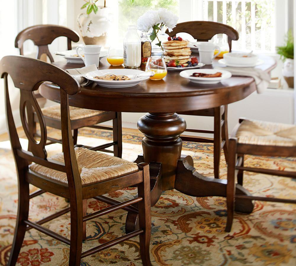 Tivoli extending pedestal dining table tuscan chestnut for Pedestal dining table and chairs