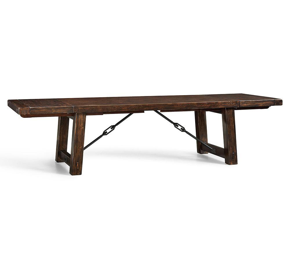 Benchwright extending dining table rustic mahogany for Dining table with bench