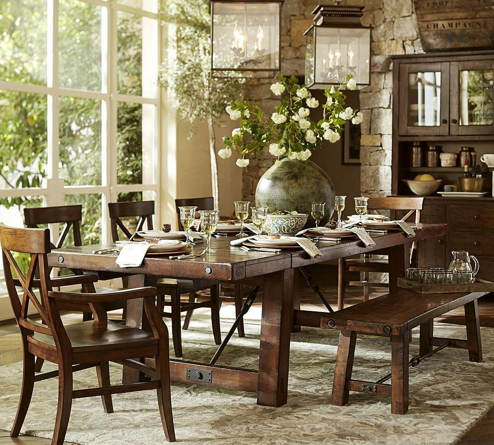 Pottery Barn Montego Chairs: Benchwright Extending Dining Table