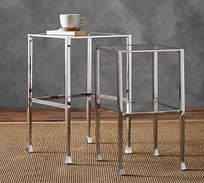 Tanner Nesting Side Tables - Polished Nickel Finish