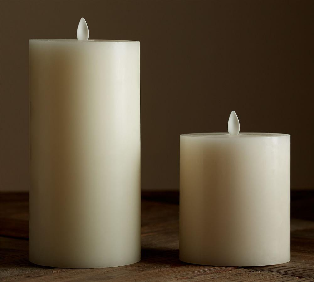Flickering Flameless Wax Pillar Candle | Pottery Barn