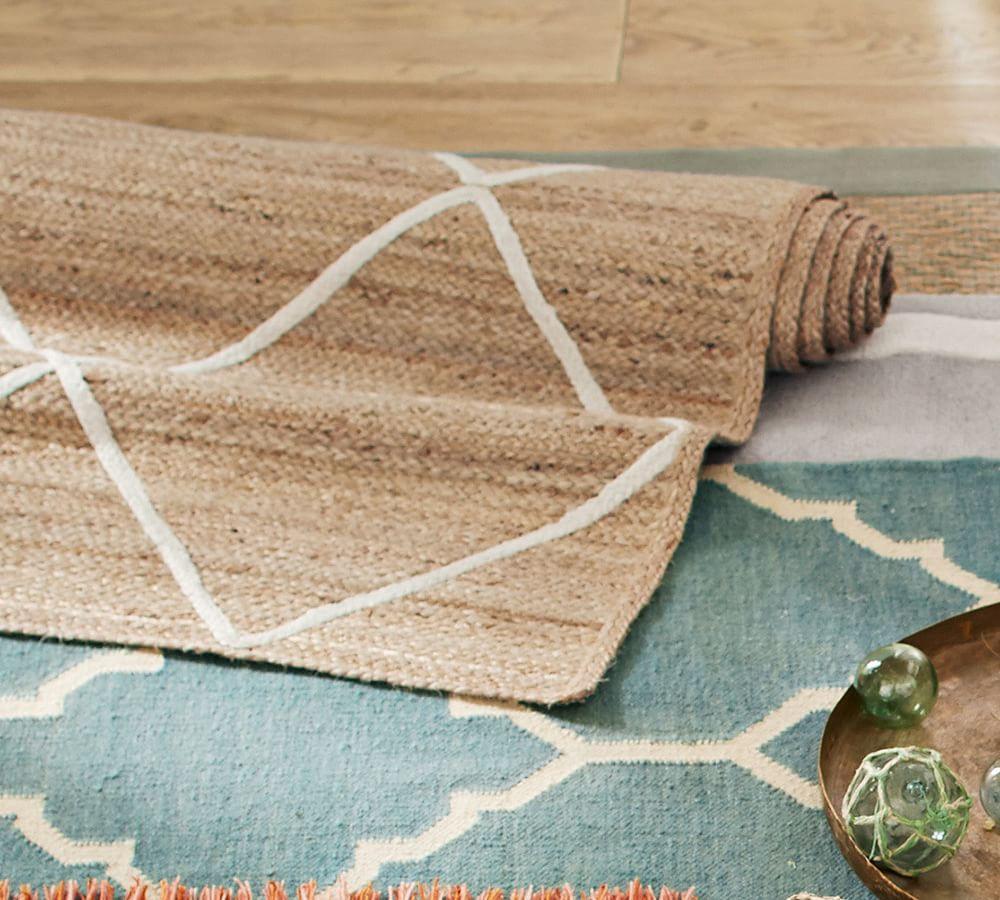 Jute Lattice Rug Flax Ivory Pottery Barn Au
