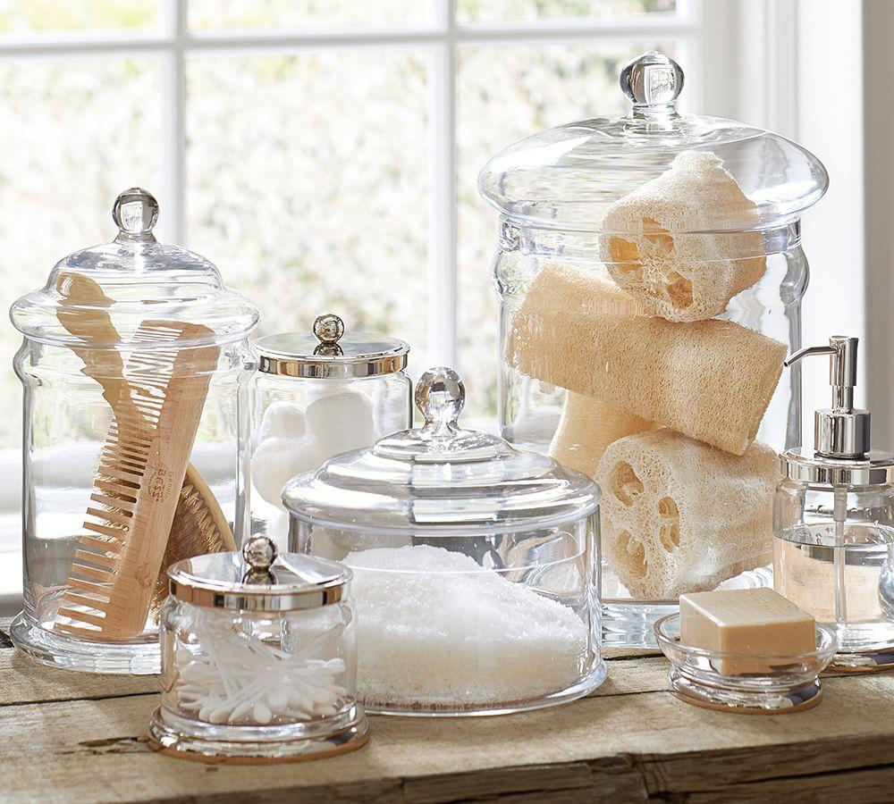 Pb classic glass canister pottery barn au for Bathroom fittings ideas