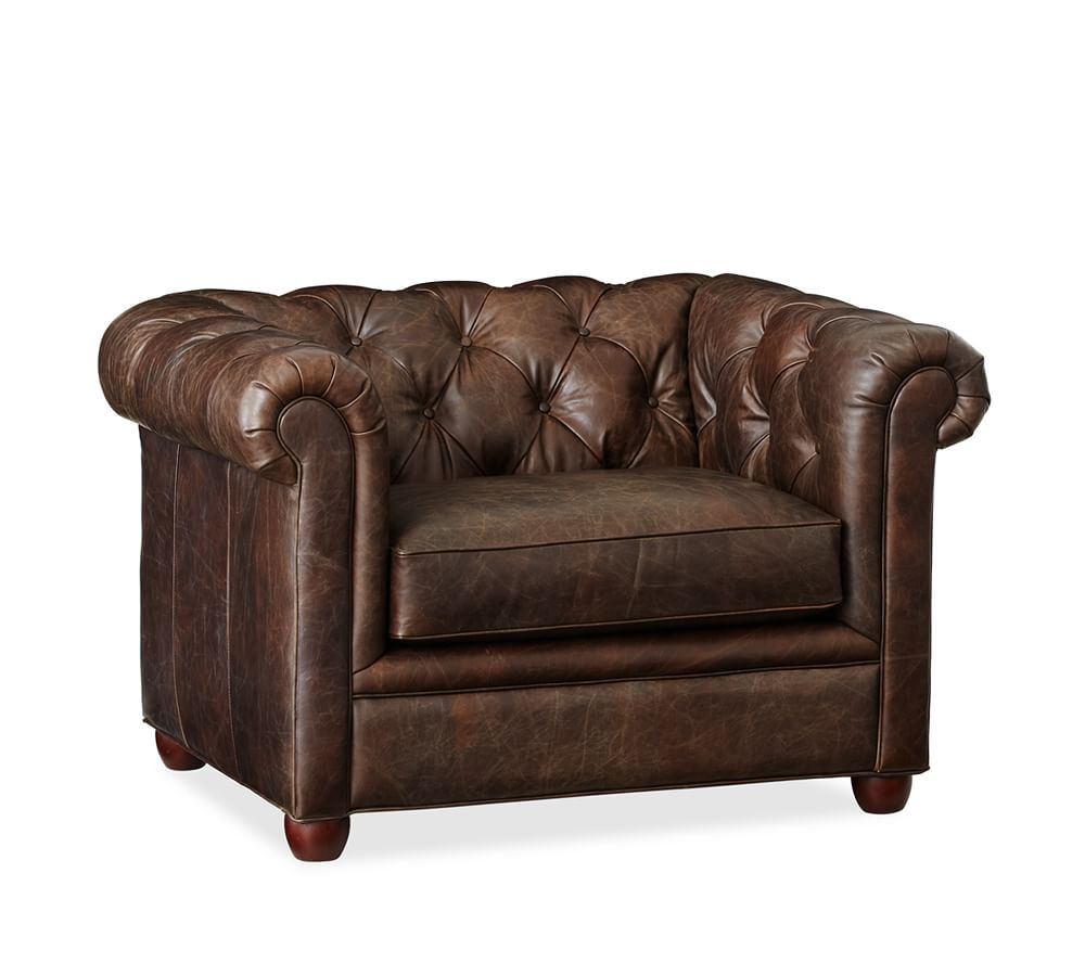 Chesterfield leather armchair pottery barn au for Furniture armchairs