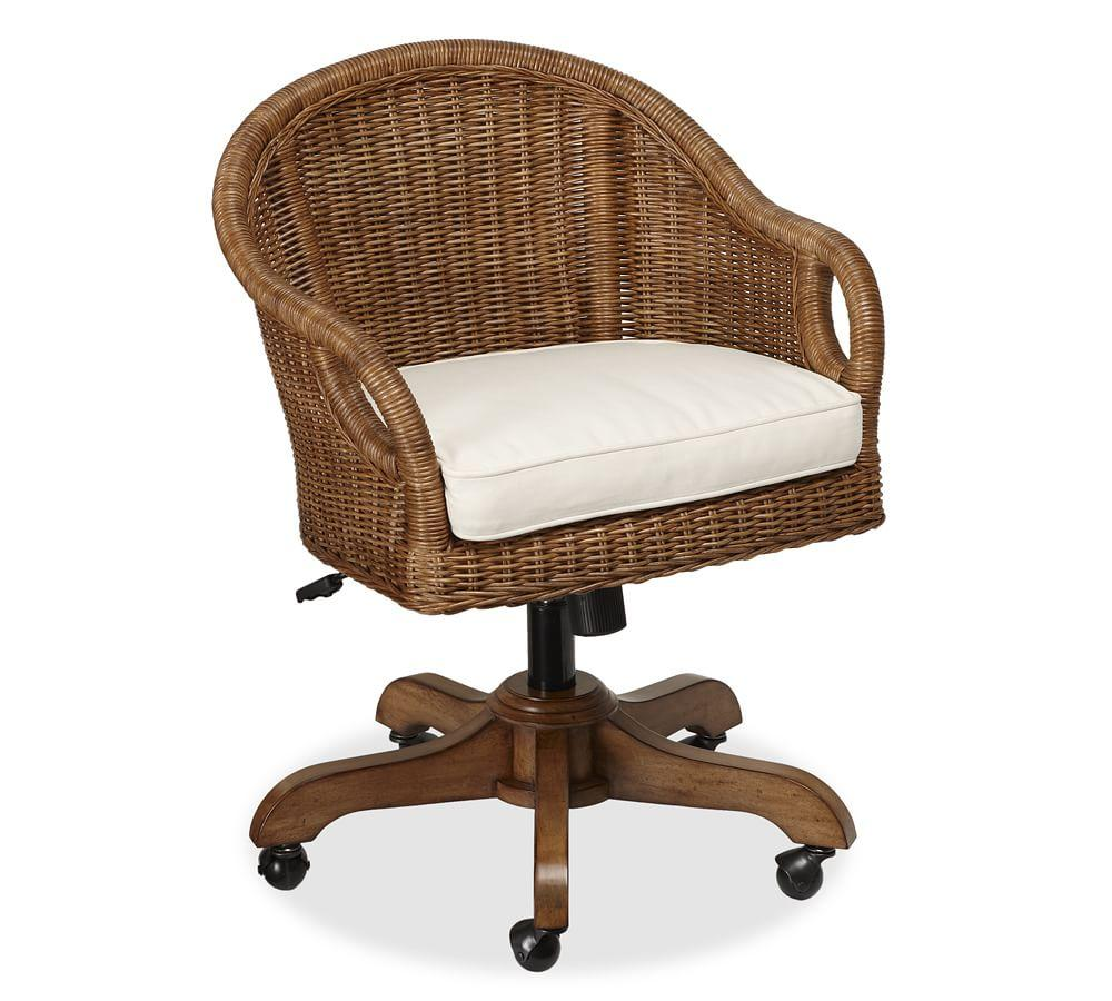 Wingate rattan swivel desk chair pottery barn au for Chair with swivel desk