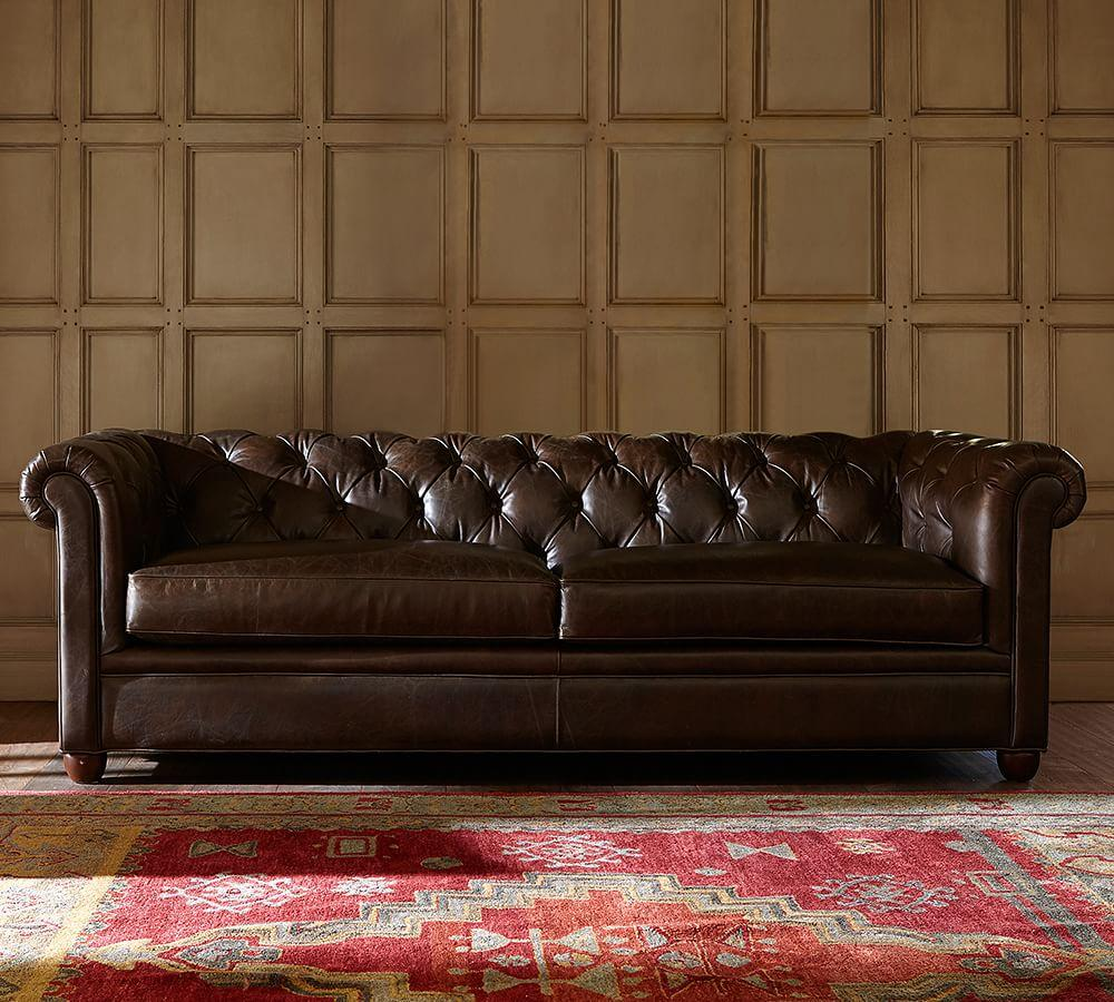 Chesterfield Leather Sofa 218 Cm Pottery Barn Au