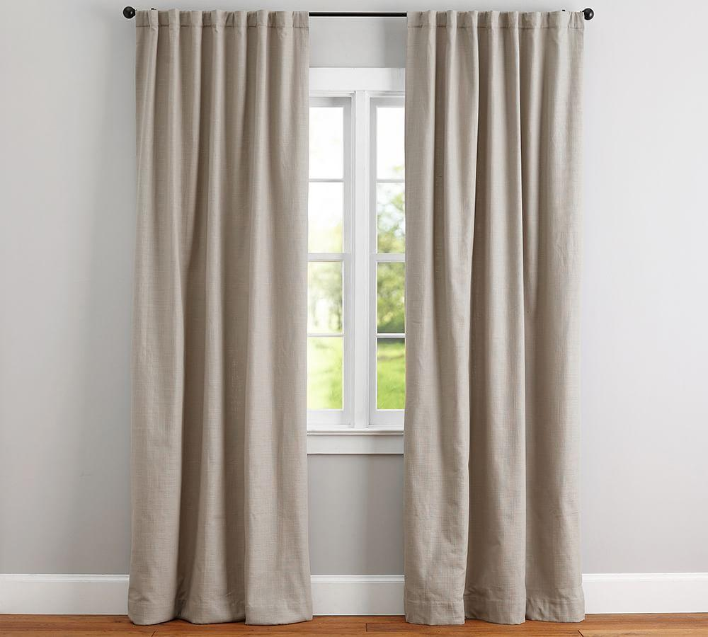 Cotton Basketweave Curtain Pottery Barn Au