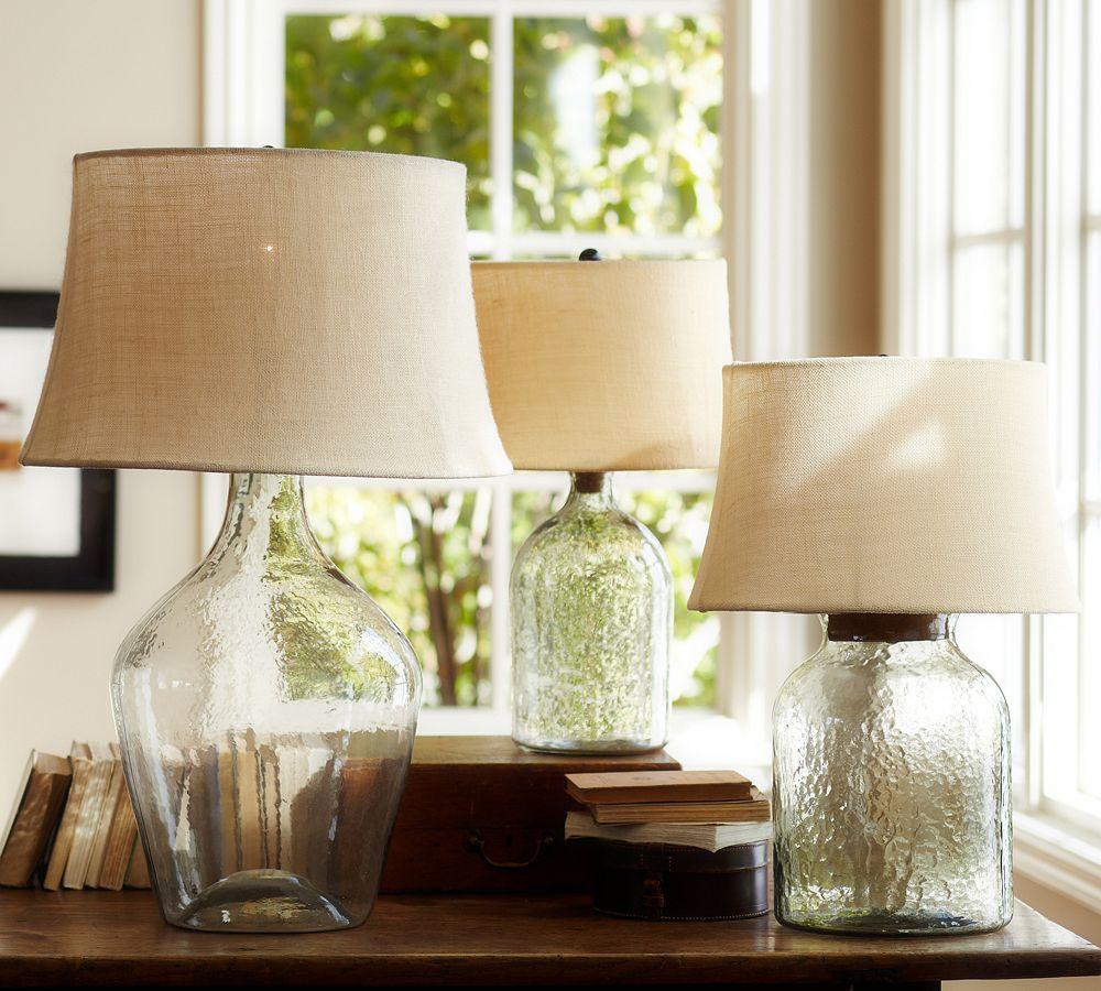 Pottery Barn Harper Lamp Shade: Clift Glass Table Lamp Base