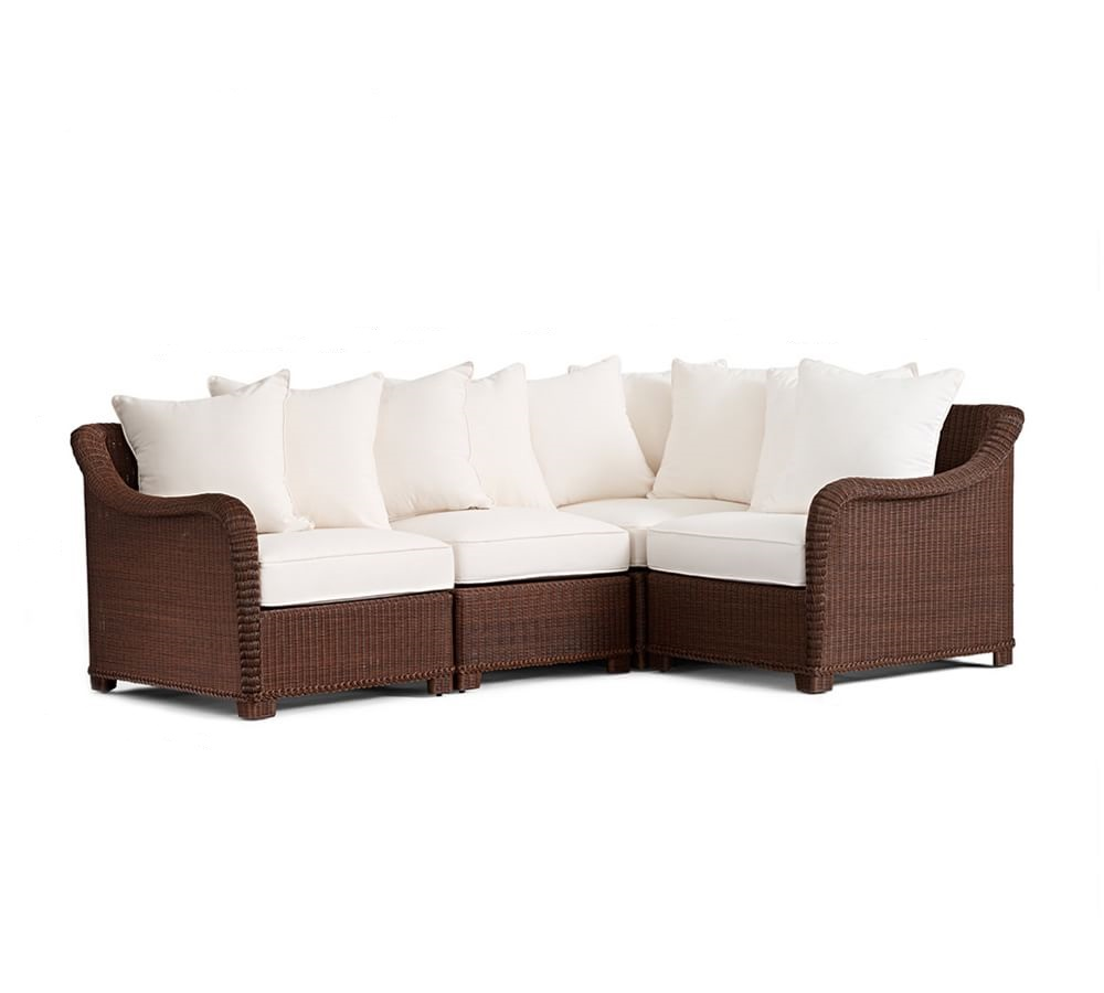build your own palmetto all weather wicker sectional components honey pottery barn au. Black Bedroom Furniture Sets. Home Design Ideas
