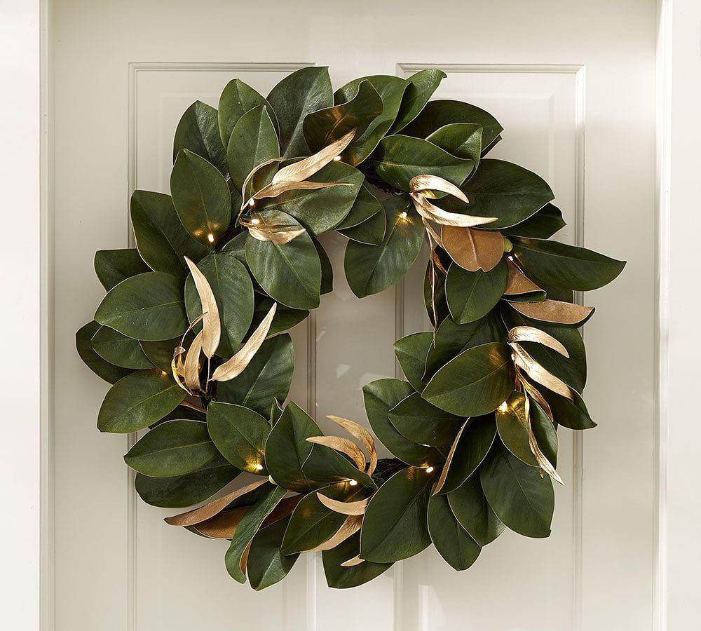 Lit Magnolia Wreath Pottery Barn Au