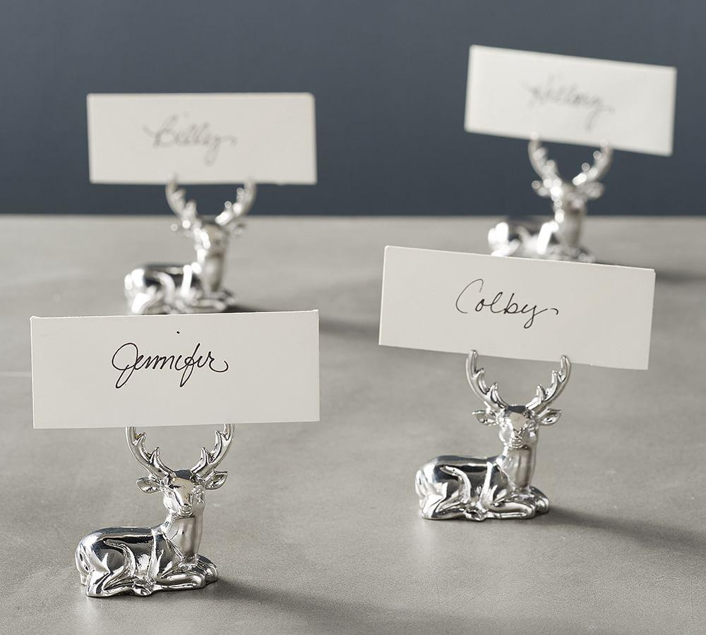 Silver Stag Place Card Holder Set Of 4 Pottery Barn Au