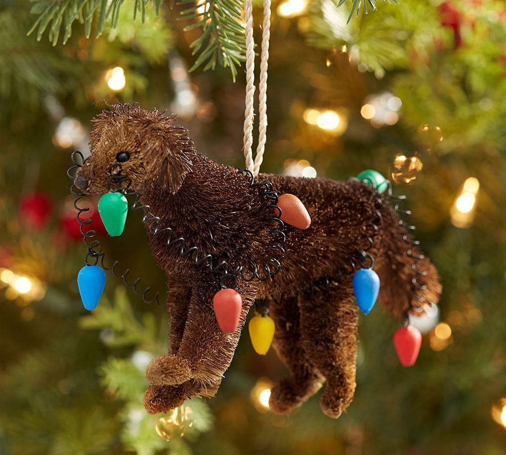Bottle Brush Chocolate Lab with Lights Ornament | Pottery ...