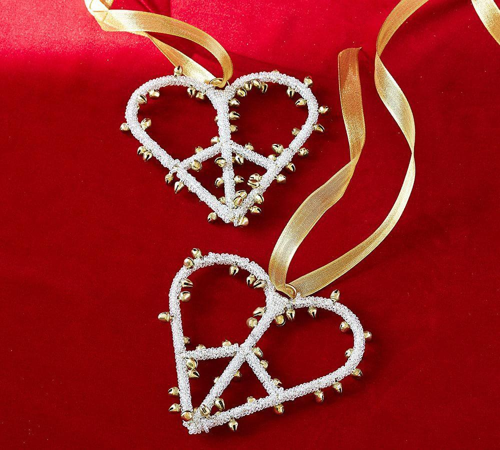 Jingle Bell Peace Sign Heart Ornament Pottery Barn Au