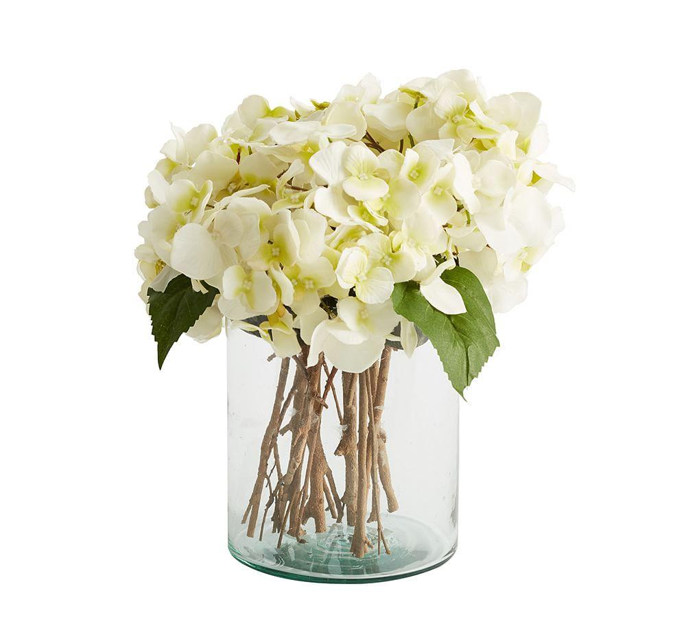 Faux White Hydrangea Arrangement In Glass Vase Pottery