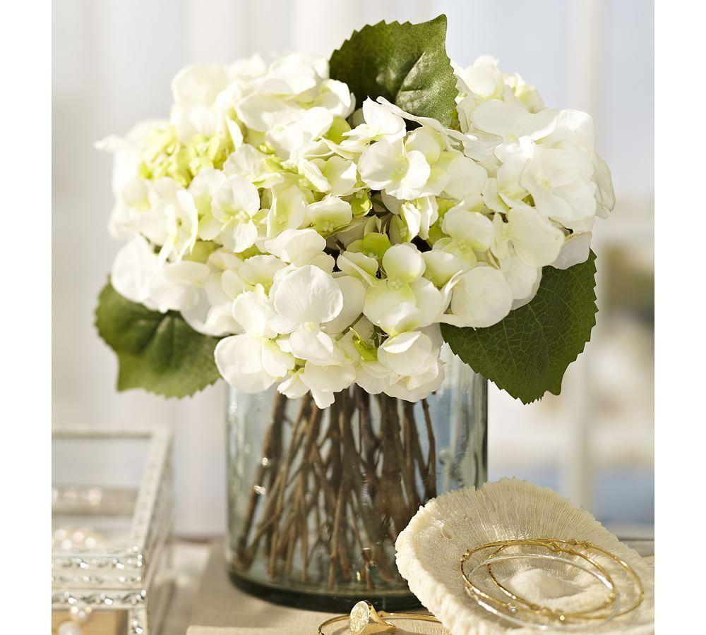 Hydrangea Arrangements: Faux White Hydrangea Arrangement In Glass Vase