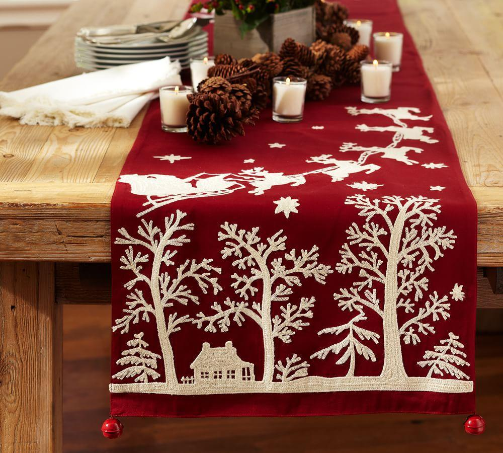 Sleigh Bell Crewel Embroidered Table Runner Pottery Barn Au
