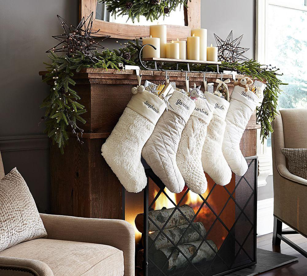 Mantle Sleigh Stocking Holder Set Of 6 Hooks Pottery Barn Au