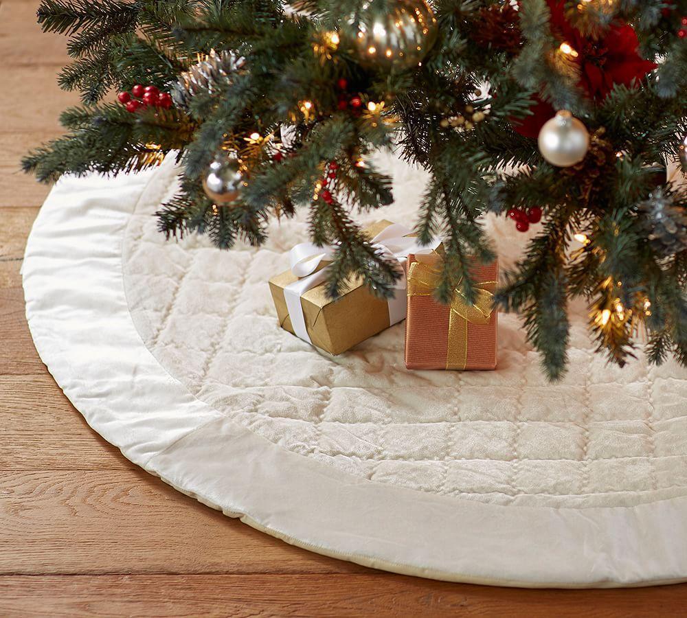 Shiny Velvet Quilted Tree Skirt Ivory Pottery Barn Au