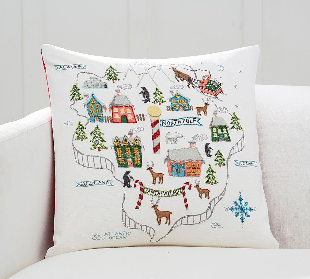 North Pole Map Embroidered Cushion Cover Pottery Barn Au
