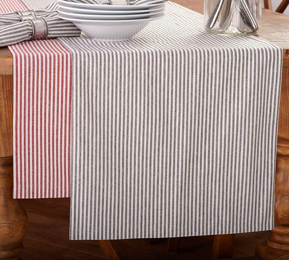 Wheaton Stripe Table Runner Navy Pottery Barn Au