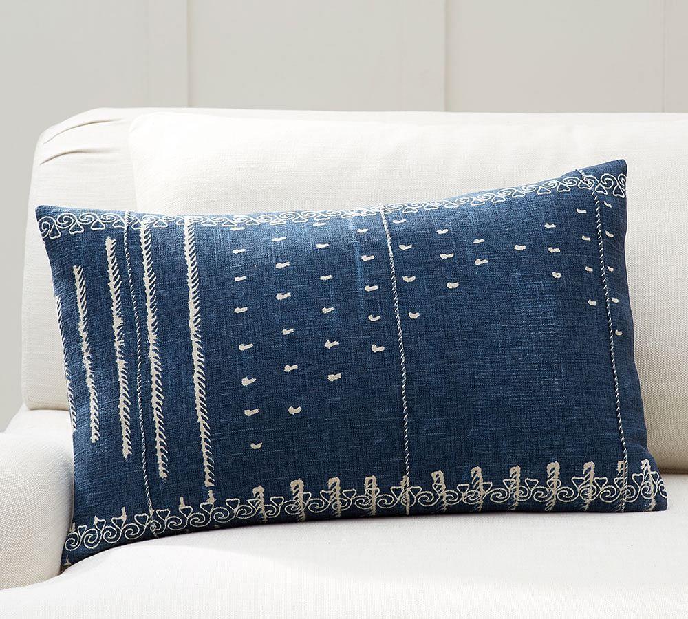 Shibori Embroidered Lumbar Cushion Cover Pottery Barn Au
