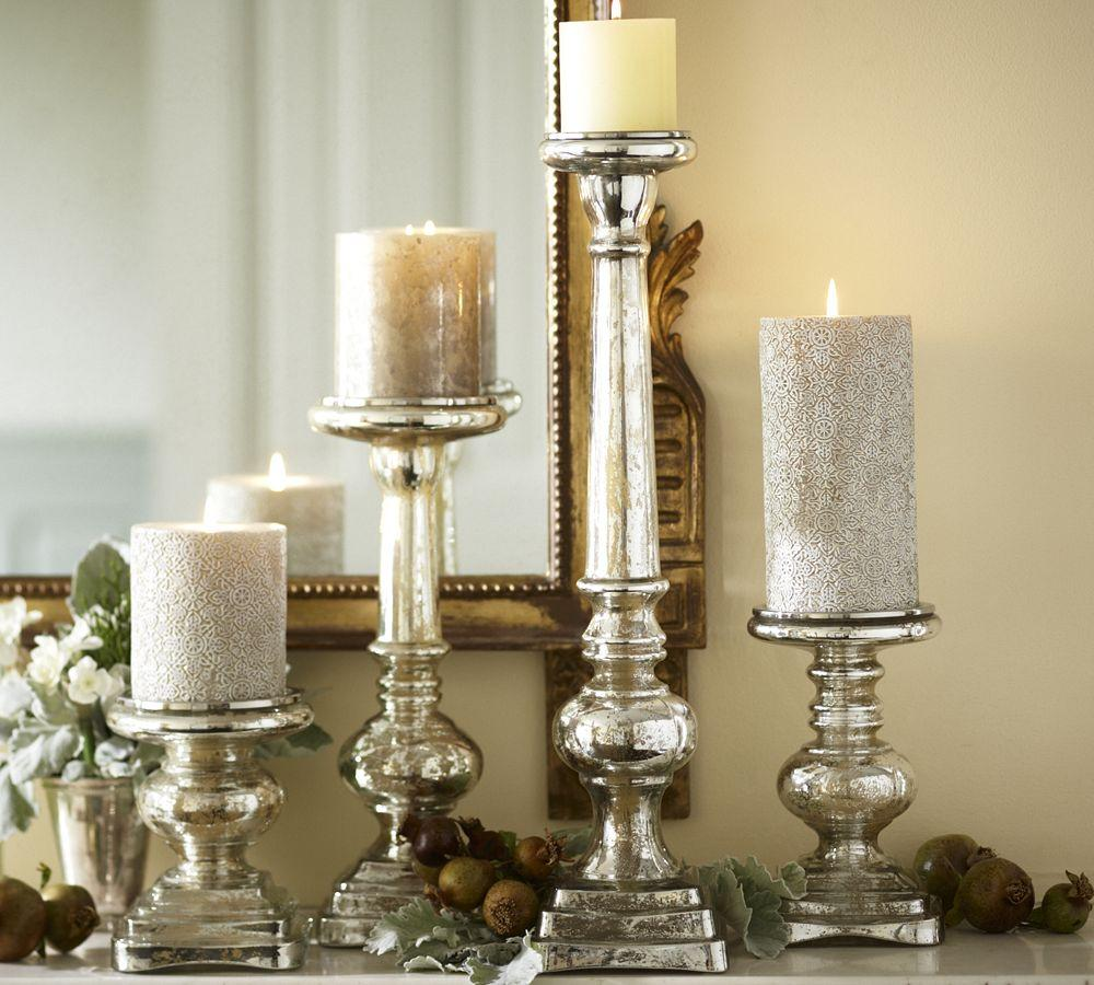 Antique mercury glass pillar holders pottery barn au for How to make glass candle holders
