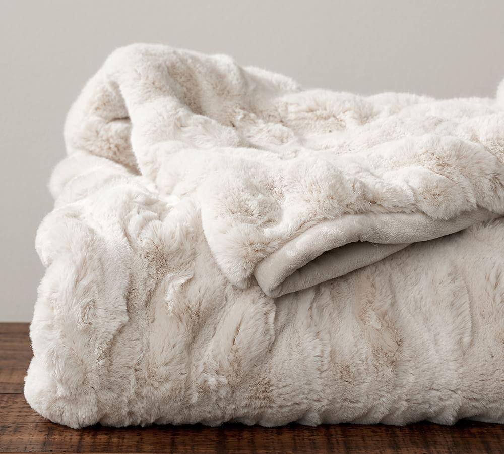 Ruched faux fur throw pottery barn au for Soft blankets and throws